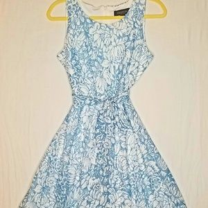 MWOT blue and white floral sleeveless dress
